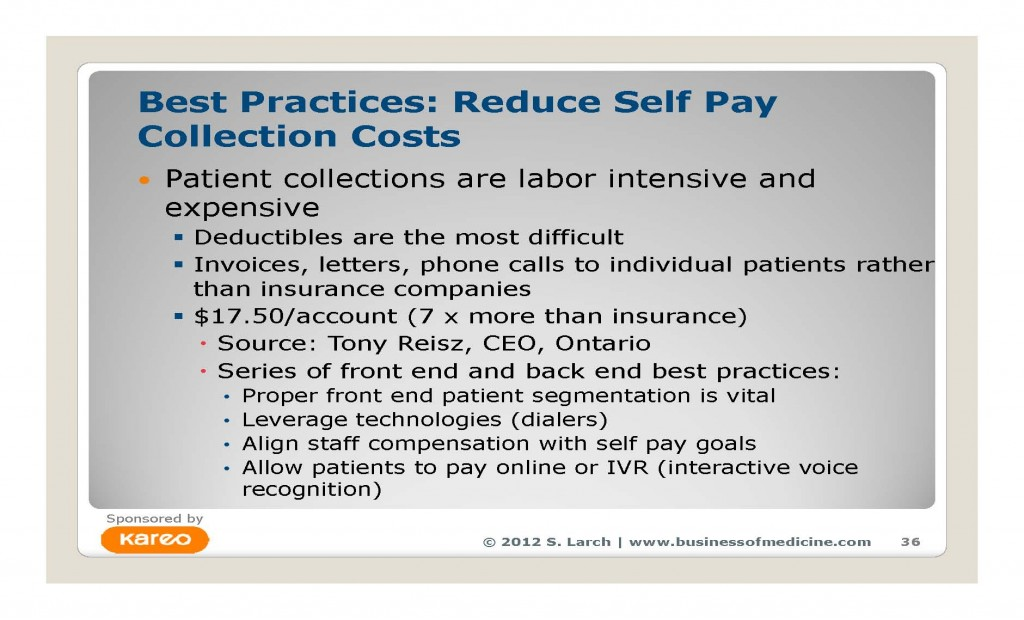 Practice management guru and author Sara M. Larch, MSHA, FACMPE quantifying why and how patient self pay collections could make or break your practice in 2012