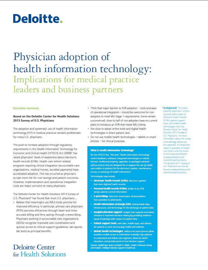 Deloitte 2013 Physician Survey Overview from Kareo
