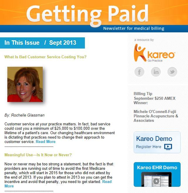September 2013 Kareo Getting Paid Newsletter