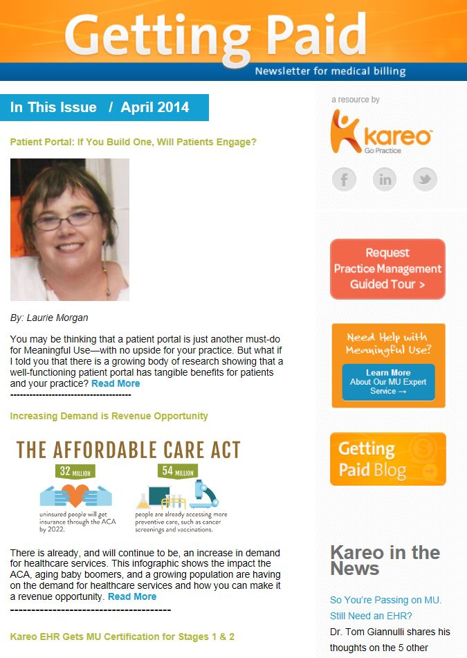 April Kareo Getting Paid Newsletter