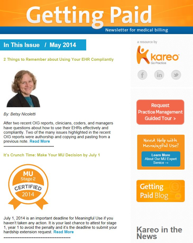 May Kareo Getting Paid newsletter