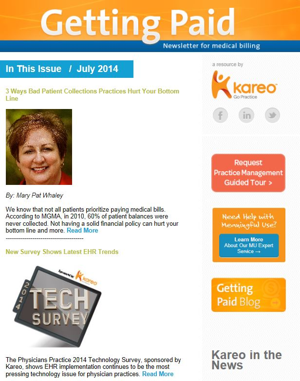 Kareo July Getting Paid Newsletter