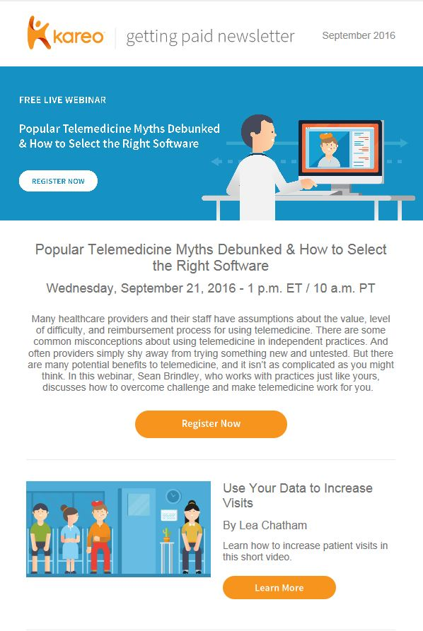Get telemedicine Tips in Kareo September Getting Paid Newsletter